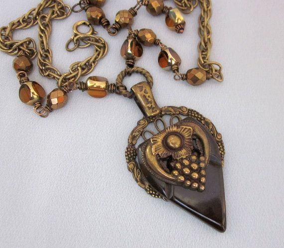 Repurposed, one of a kind, necklace featuring a vintage Bakelite plastic buckle accent - by JryenDesigns