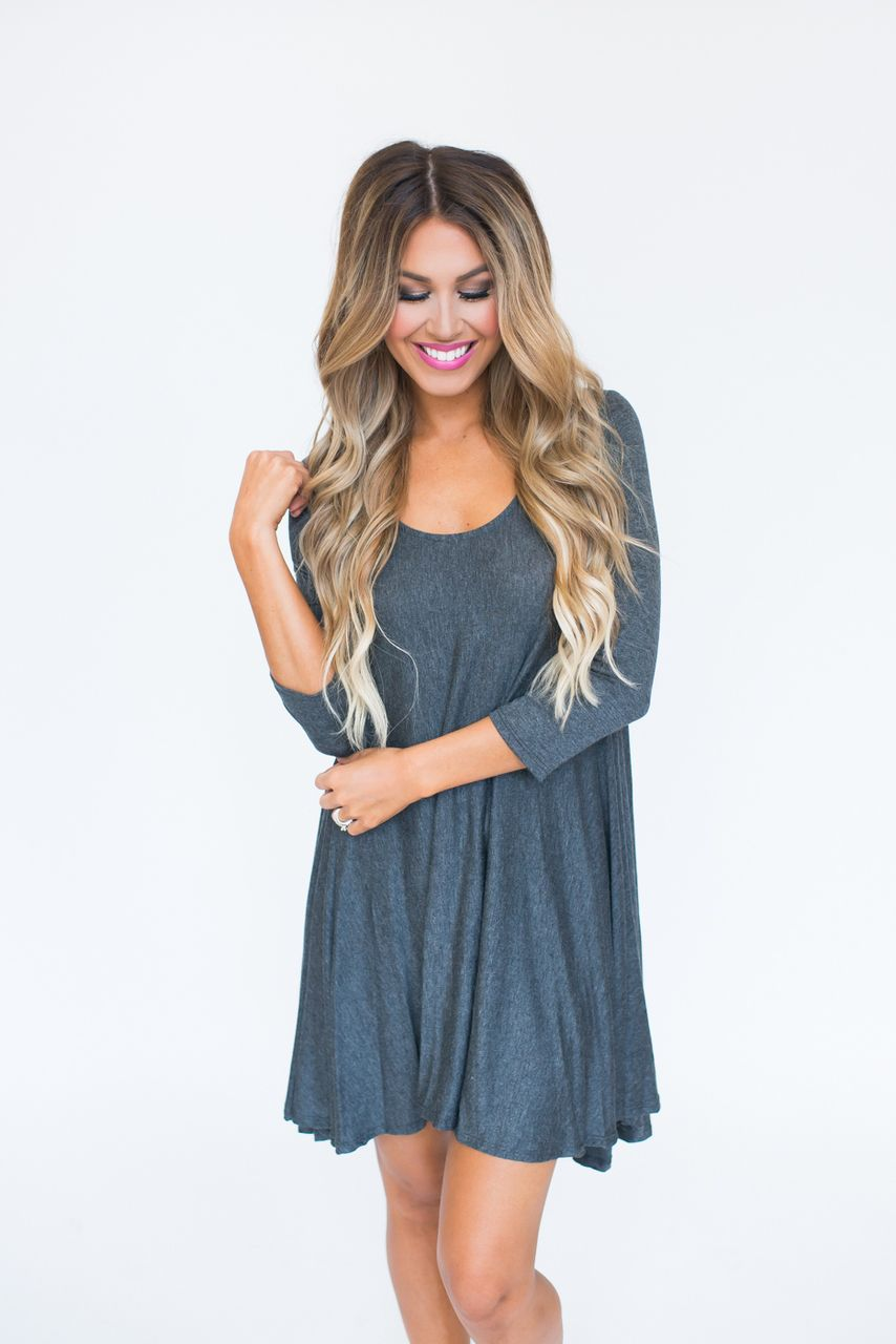 Charcoal 3/4th Sleeve Tunic Dress - Dottie Couture Boutique