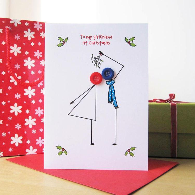 Moderne Weihnachtskarten Basteln.Knöpfe Moderne Weihnachtskarten Gestalten Text Liebespaar