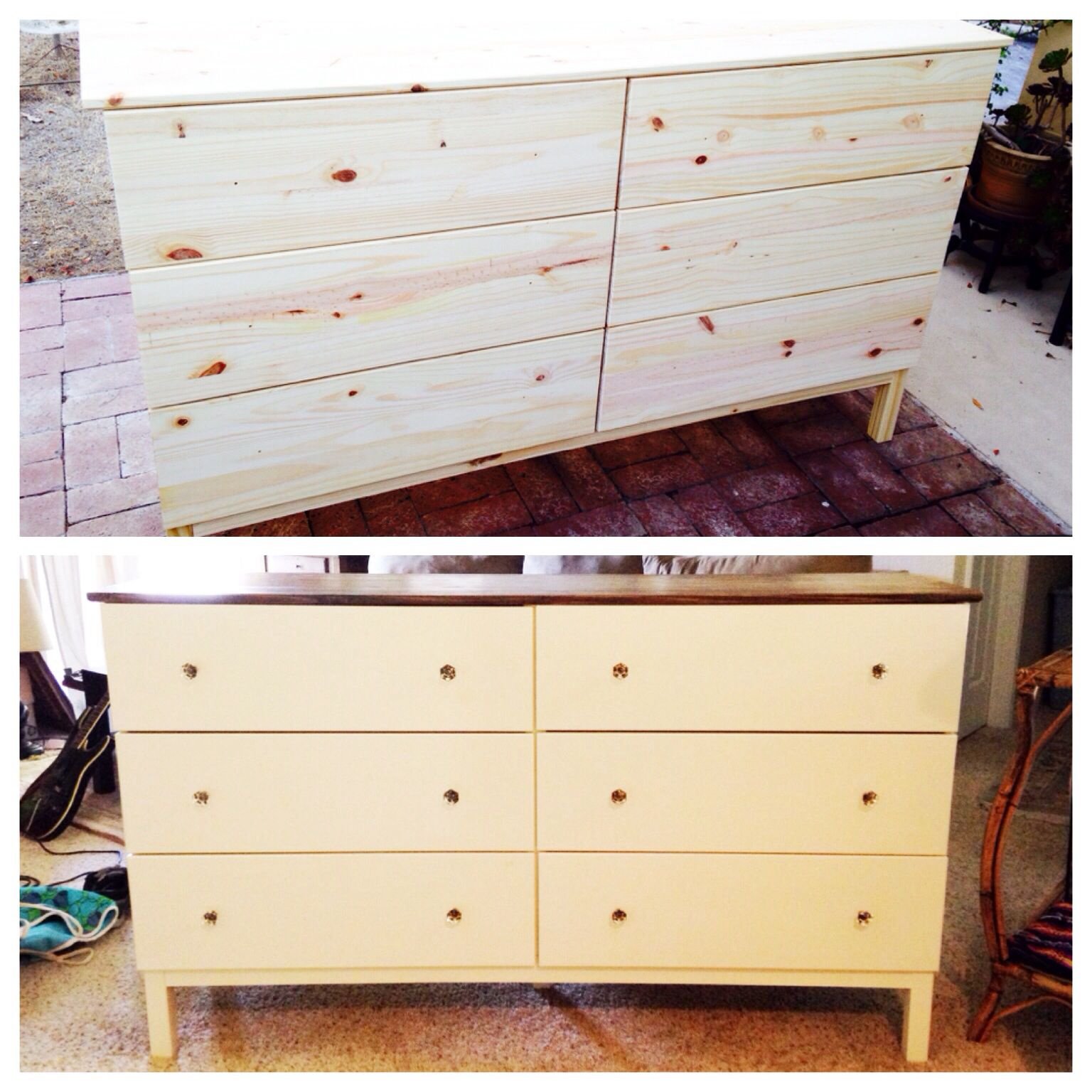 this is my version of the tarva dresser from ikea i stained the top