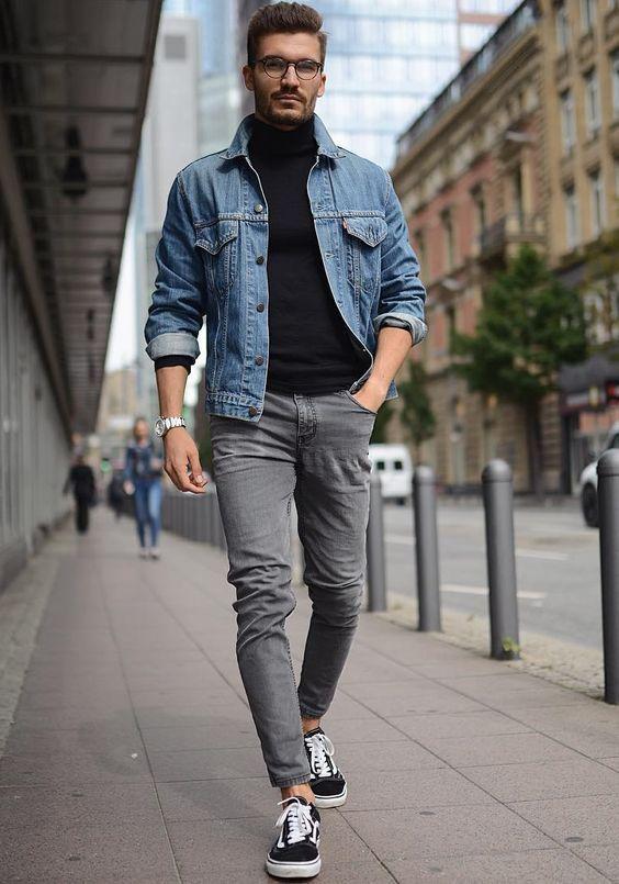462651ce59b Look masculino com tênis Vans Old School e jaqueta jeans