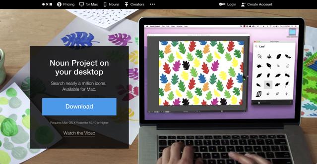 Noun Project for Mac 在桌面上快速搜尋免費圖示,免下載拖曳帶入應用程式 Create