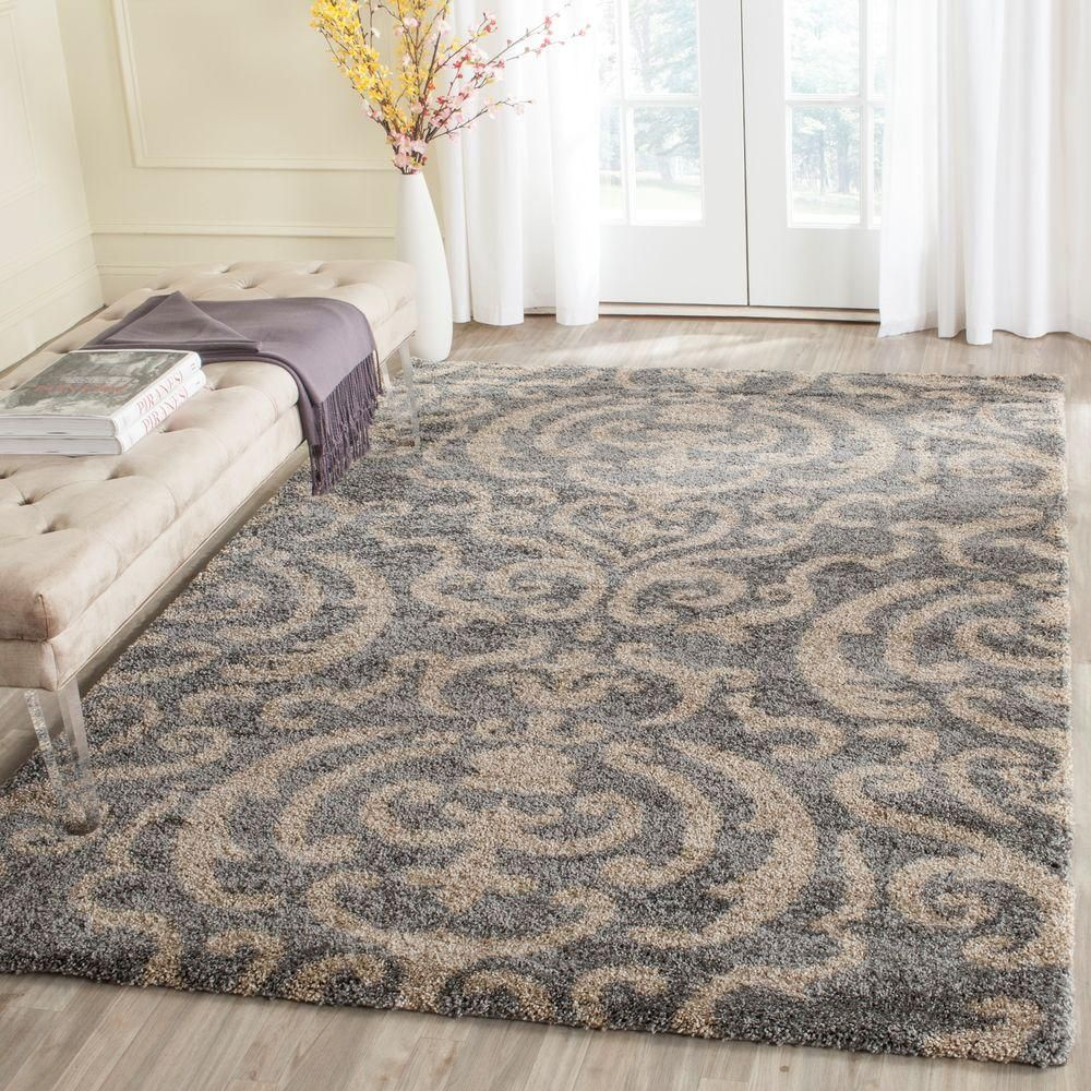 Safavieh Florida Shag Gray Beige 5 Ft X 8 Ft Area Rug Sg462 8013