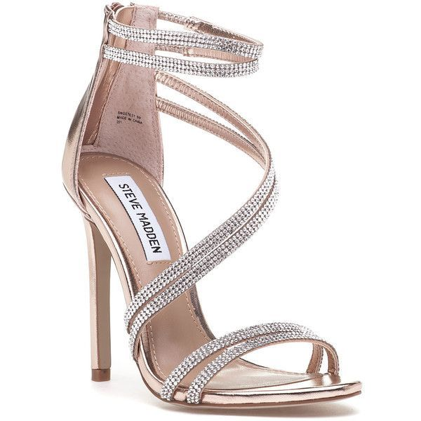 STEVE MADDEN Sweetest Rose Gold Rhinestone Sandal ($99) ❤ liked on Polyvore  featuring shoes