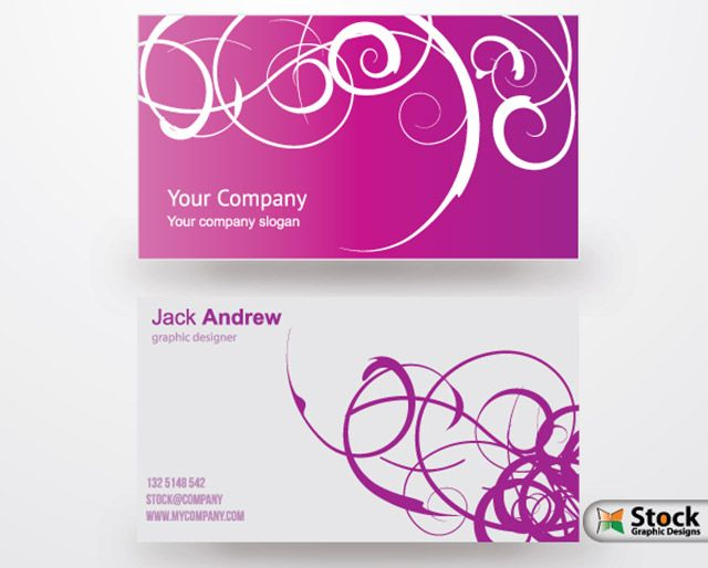 Stylish Purple Business Card Vector Template Free Business Card Templates Business Cards Vector Templates Vector Business Card