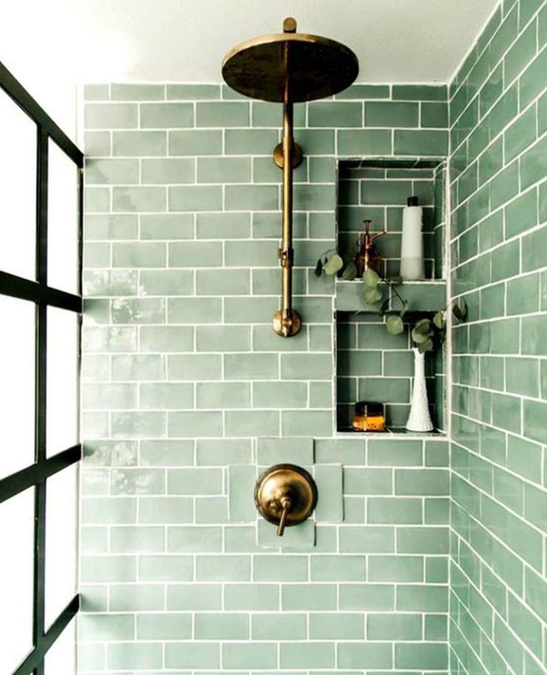 Jane Rockett On Instagram Beautiful Sage Green Bathroom Tiles Peaceful Relaxing Yet Stylish And Unique I In 2020 Green Tile Bathroom Green Bathroom Tile Bathroom