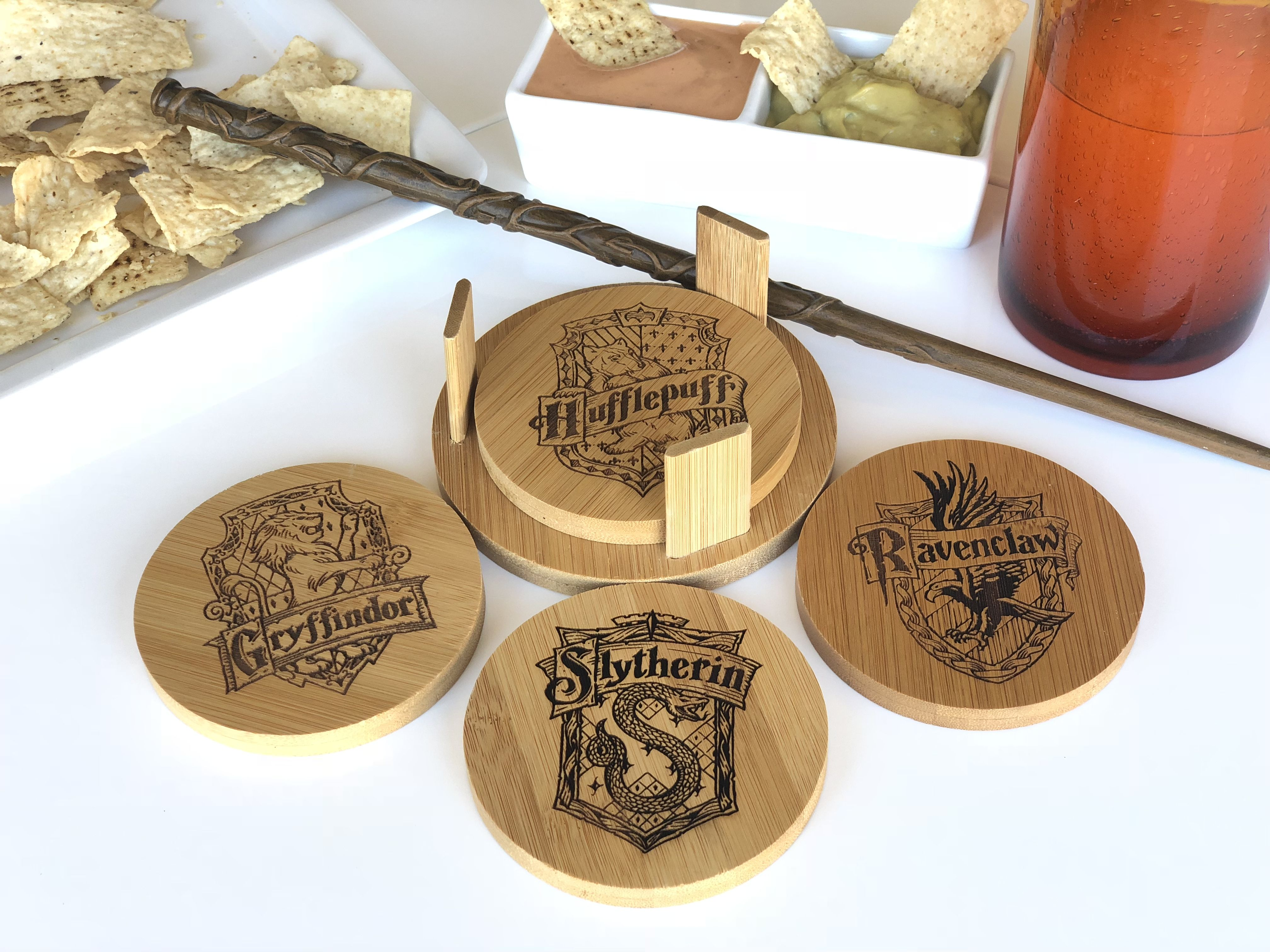 Harry Potter Houses Inspired Custom Engraved Coaster Set With Holder Personalized Coaster Wood Engraved Coasters Personalized Coasters Coaster Set