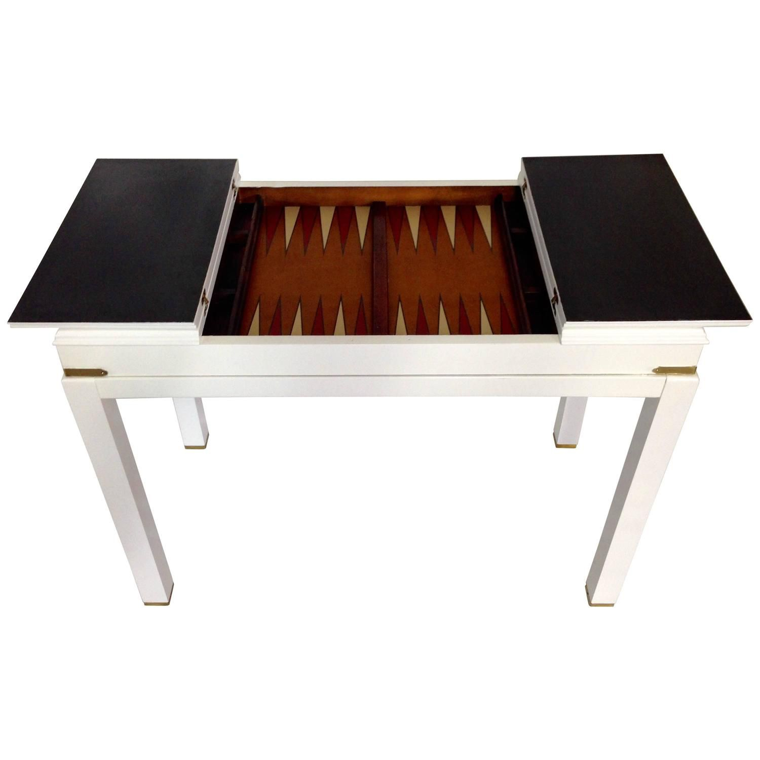 1960s White Lacquered Backgammon Game Table By Lane | See More Antique And  Modern Game Tables
