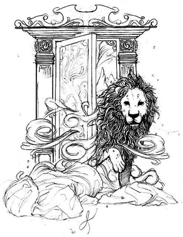 Aslan Come Out From Narnia Chronicles Of Narnia Coloring Page Jpg 600 776 Chronicles Of Narnia Lion Witch Wardrobe Narnia
