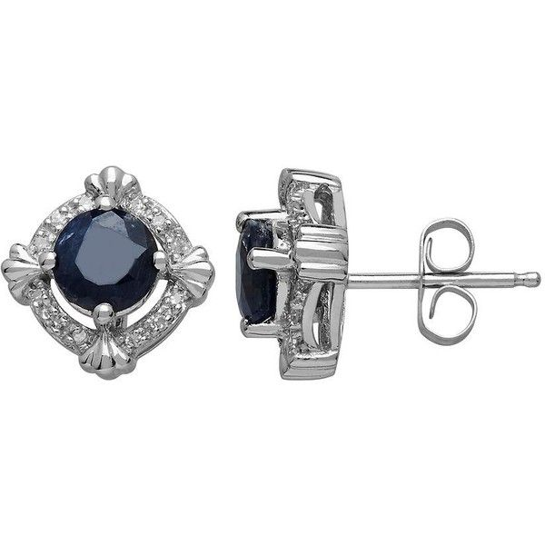 Lord & Taylor 14Kt. White Gold,  & Diamond Earrings (73375 RSD) ❤ liked on Polyvore featuring jewelry, earrings, sapphire, earrings jewelry, diamond jewellery, diamond accent jewelry, white gold diamond earrings and white gold jewelry
