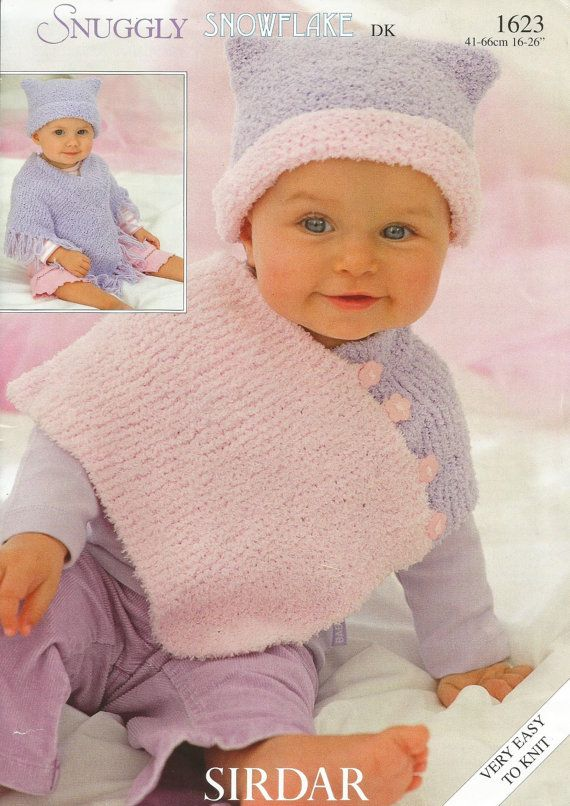 Instant Download Pdf Lovely Easy Poncho Hat Knitted Baby