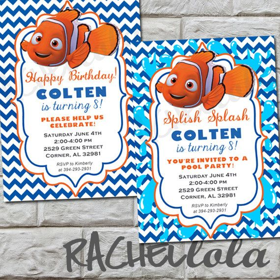 Finding Nemo, Pool Party Birthday Invitation, Printable, DIY Eliu0027s - birthday invitation pool party