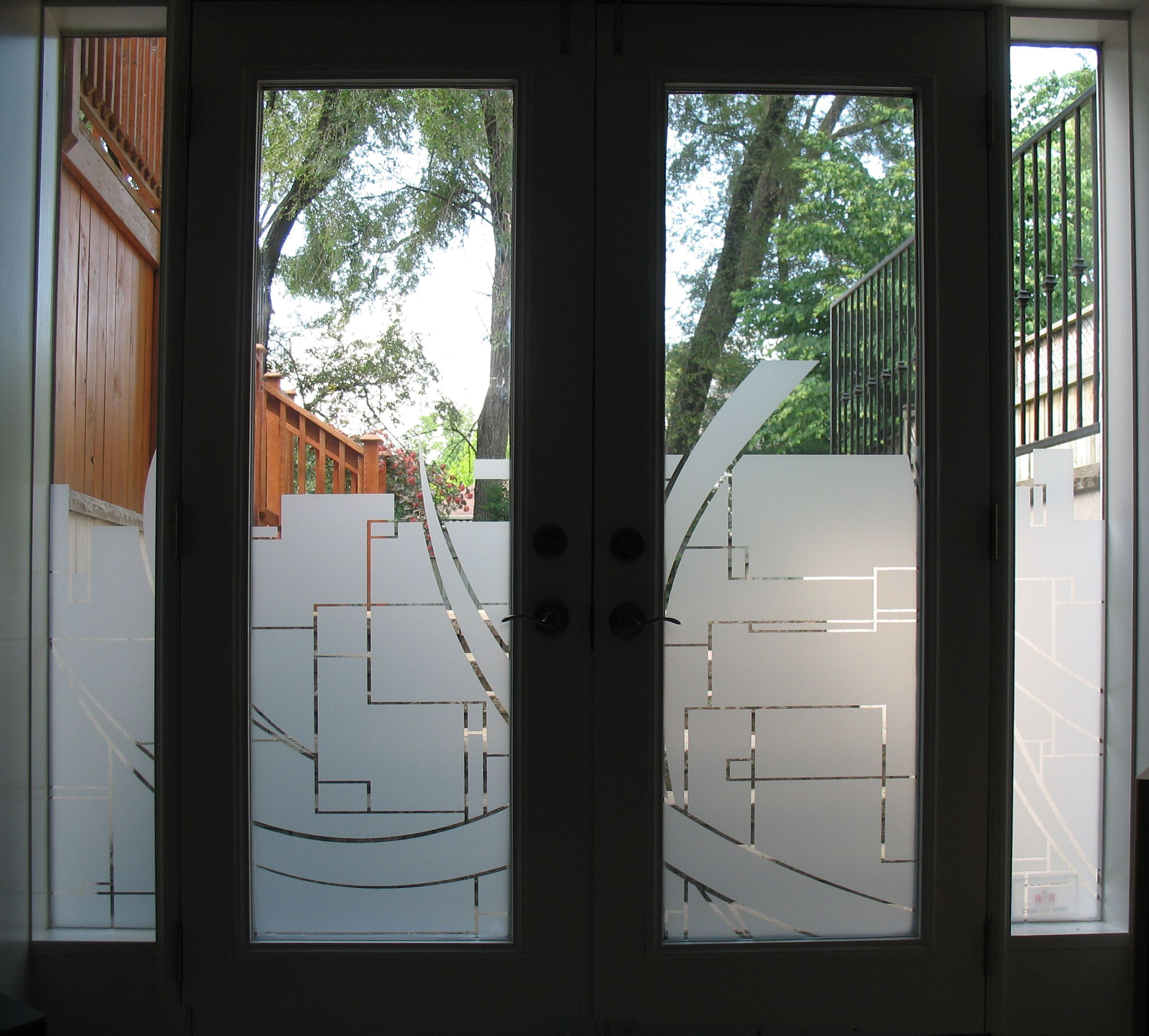 Custom graphics cut in frost on residential door window for Door n window designs