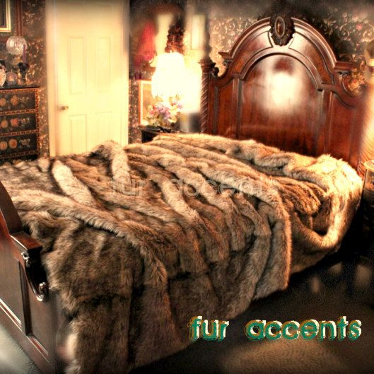King Queen Plush Light Timber Wolf Fur Bedspread By Furaccents 398 00 Bed Spreads Fur Bedding Cool Comforters