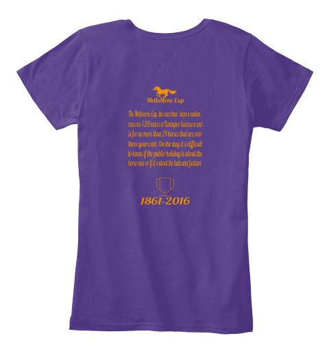 Melbourne cup 1861 2016 purple womens t shirt back