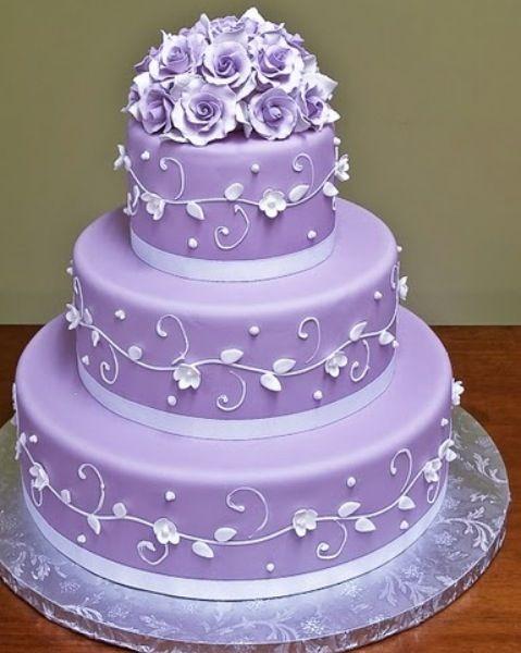 Purple Lavender Diamond Simple Elegant Tiered Beautiful Wedding Birthday Cake