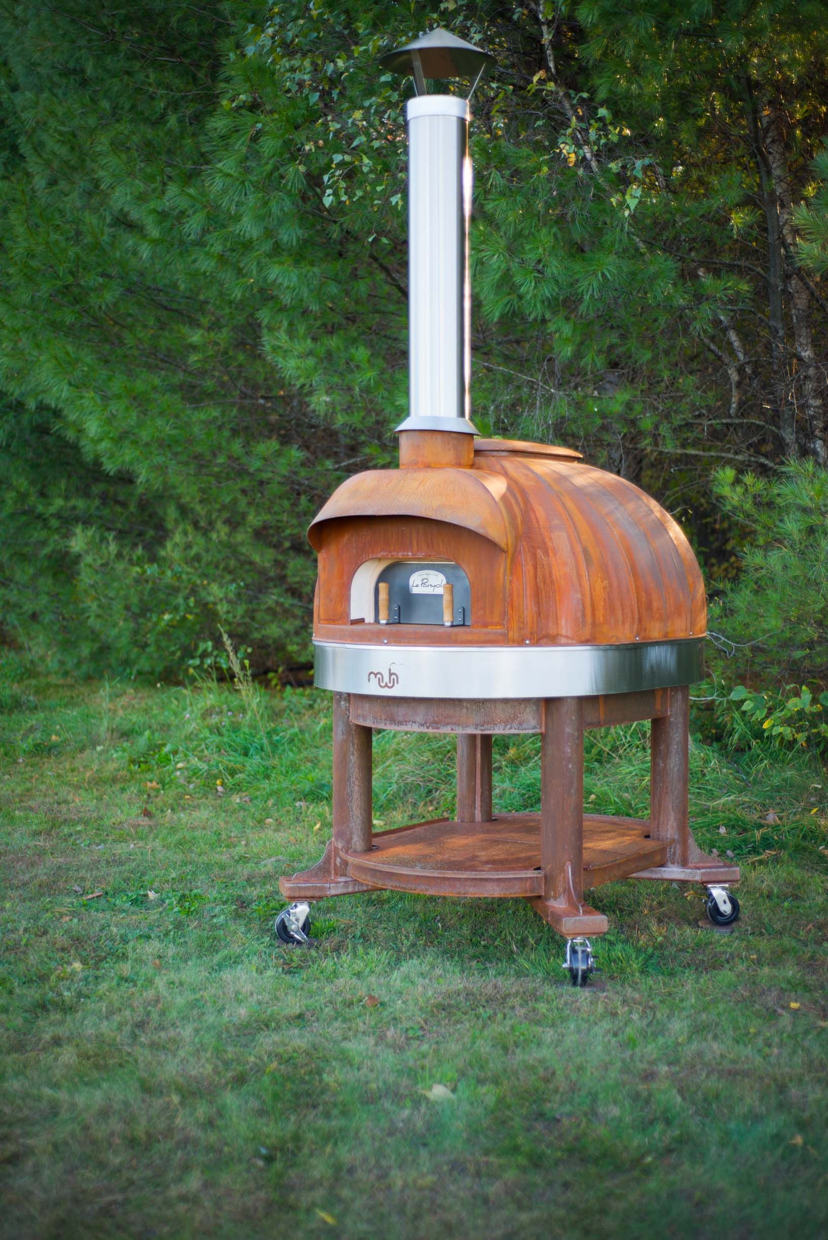 Mediterranean wood fired pizza oven - Corten Model 99 With Stand Made By Maine Wood Heat Company Wood Fired Oven Le Panyol Portable Pizza Oven