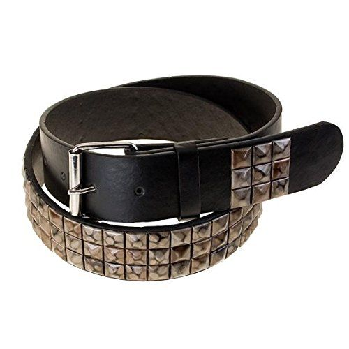 Chic Unisex Net studded belt brown marbled black pyramid studs studded belt pattern -