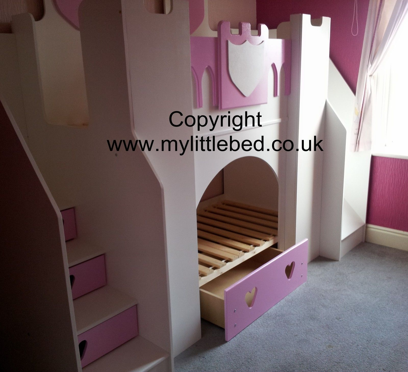 Girls Boys Kids Princess castle bunk bed furniture with slide