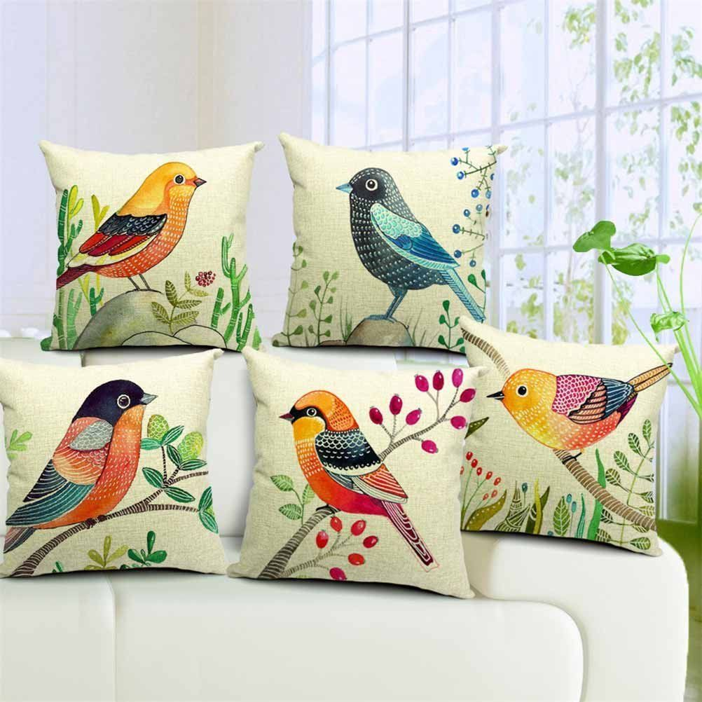 5 Styles Hand Painting Birds Cushions Covers Pillowcase Bird Tree Cushion Cover Sofa Couch Throw Decorative Linen Cotton Pillow Case Present & Amazon.com - Dreamcolor 18x18\