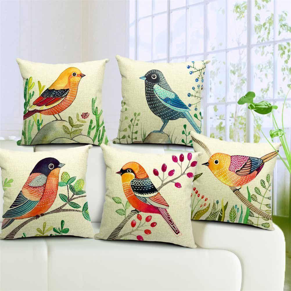 Amazon Com Dreamcolor 18x18 Cotton Linen Bird Pattern