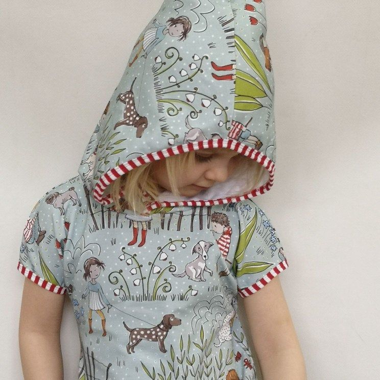 Hooded Pixie dress, Dog lovers, Organic cotton kids dress