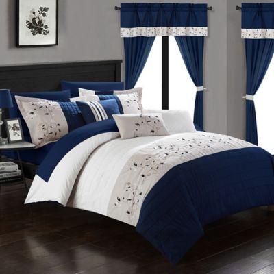Chic Home Sona 20 Piece Queen Comforter Set In Navy Comforter