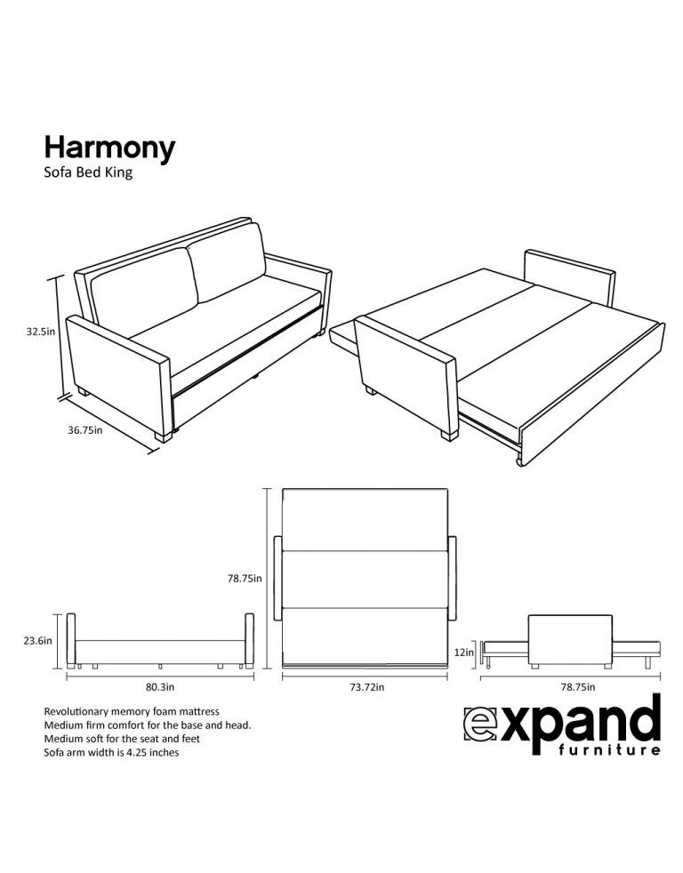 Harmony King Sofa Bed With Memory Foam