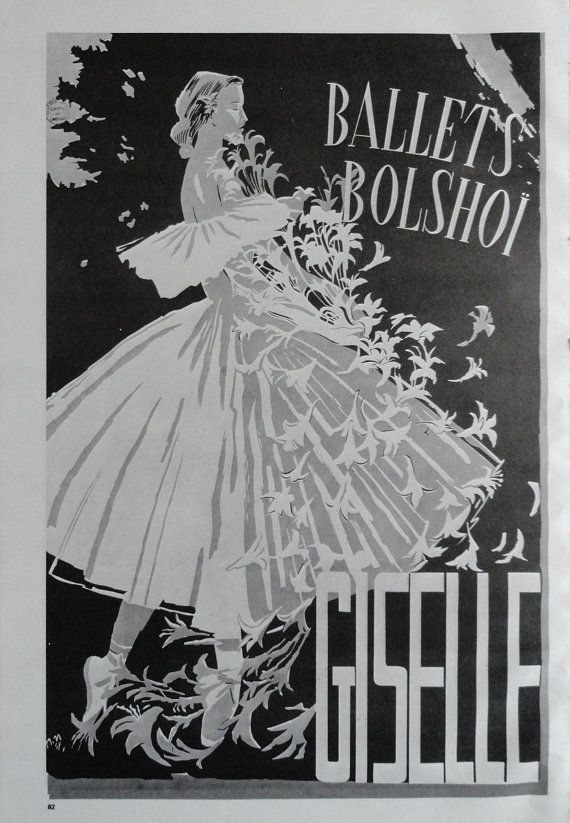 Vintage dance poster giselle ballets bolshoi flowers ballet theatre new york knight black and white print jack rennert usa via etsy