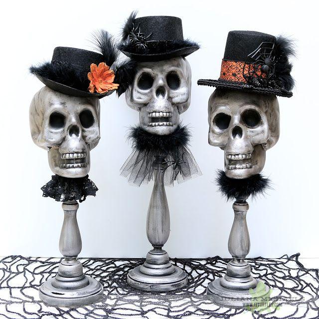Dollar Tree Halloween Decor using Plastic Skulls by Juliana Michaels - michaels halloween decorations