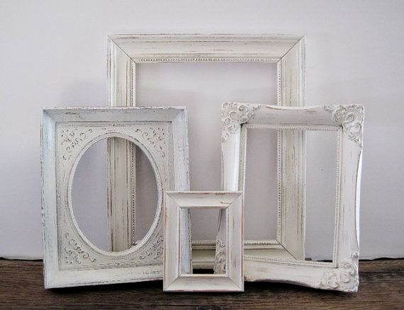 Open Picture Frame Set Of 4 Shabby Chic Antique by SeaLoveAndSalt