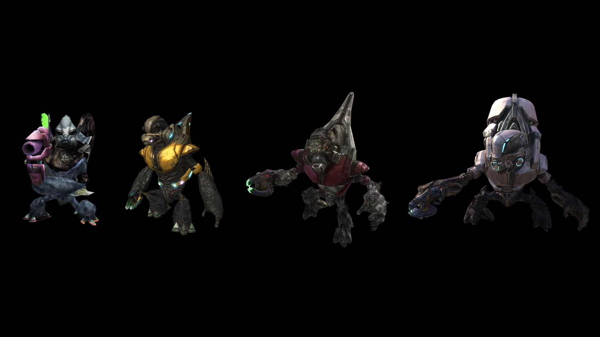 1331 - Covenant Grunt: Evolution of Grunt models, from Halo: Combat