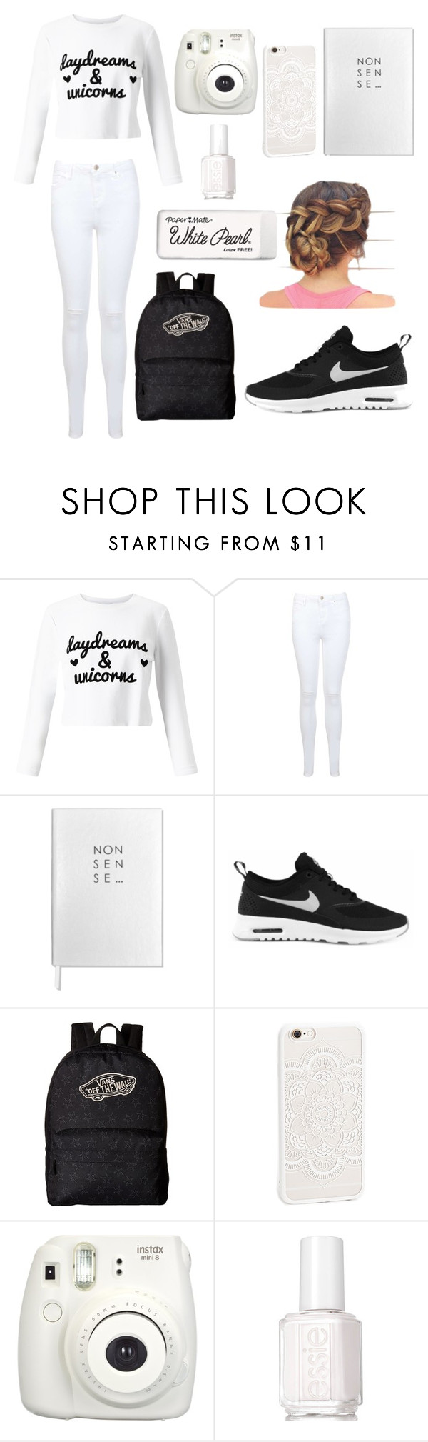 """Untitled #85"" by mashula-004 ❤ liked on Polyvore featuring Miss Selfridge, Sloane Stationery, NIKE, Vans, JFR, Fujifilm, Essie and Paper Mate"