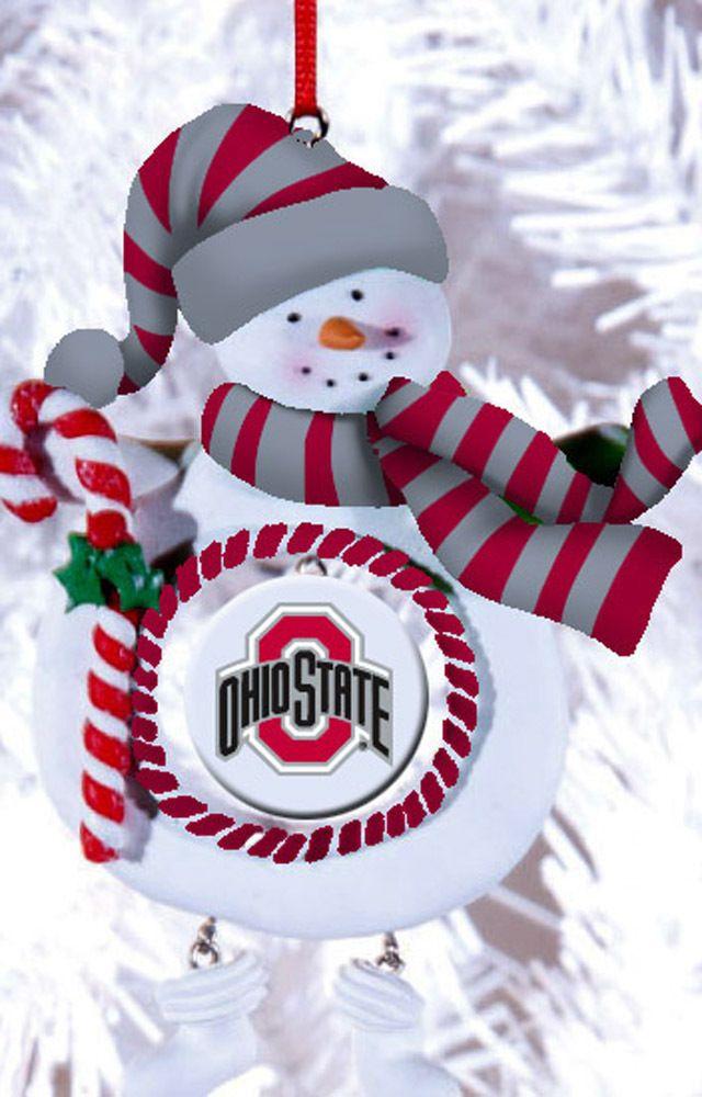 Ohio State University Buckeyes Medallion Snowman Christmas Ornament  #FansWithPride - Ohio State University Buckeyes Medallion Snowman Christmas Ornament