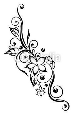 ranke flora blumen bl ten laub bl tter black tattooideen pinterest tattoo vorlagen. Black Bedroom Furniture Sets. Home Design Ideas