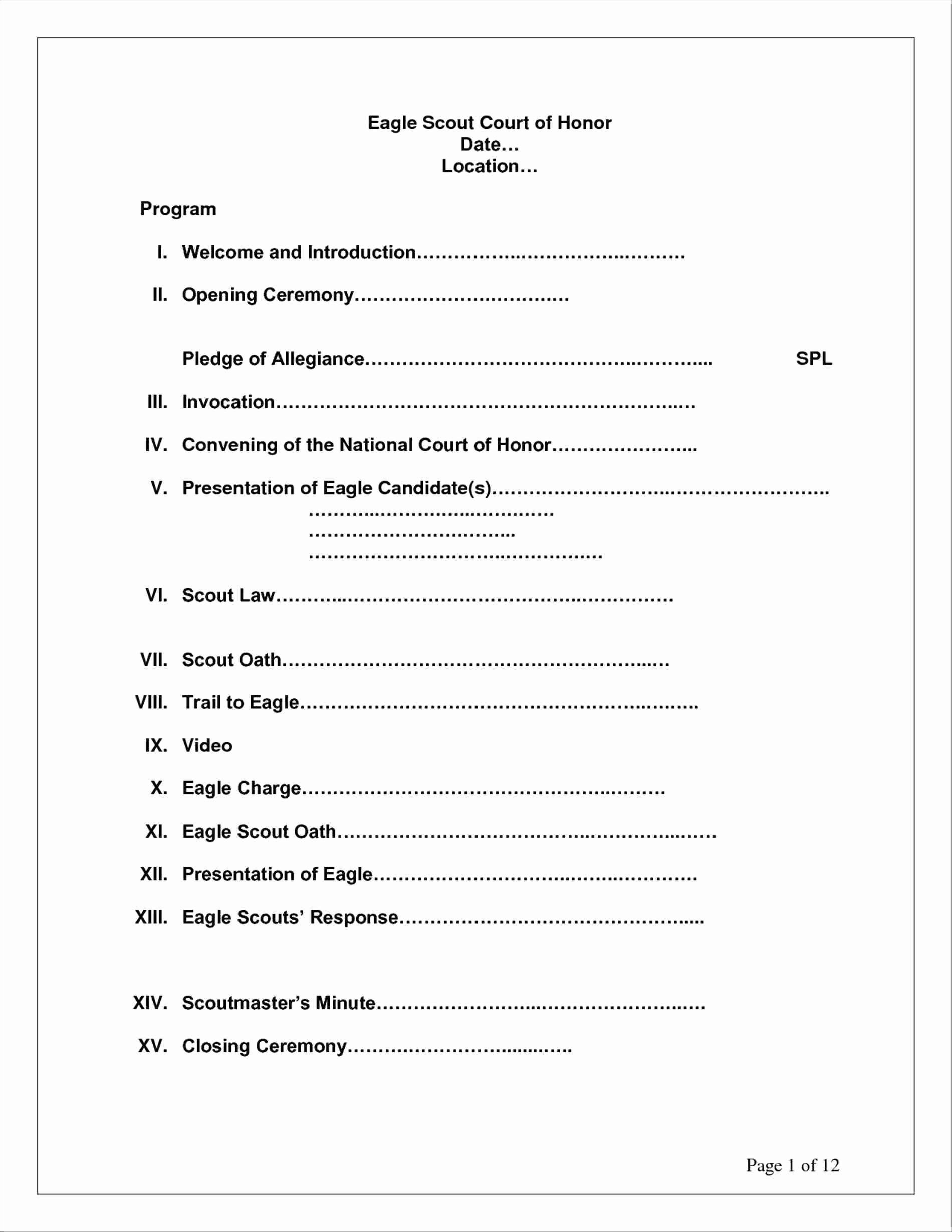 Awesome Eagle Scout Court Honor Program Template Eagle