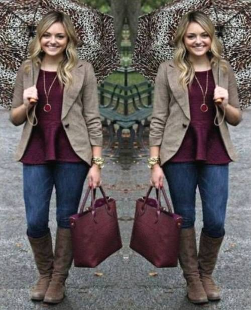b536507d2b maroon-with-mocha-outfit- Easy weekend fall outfits http