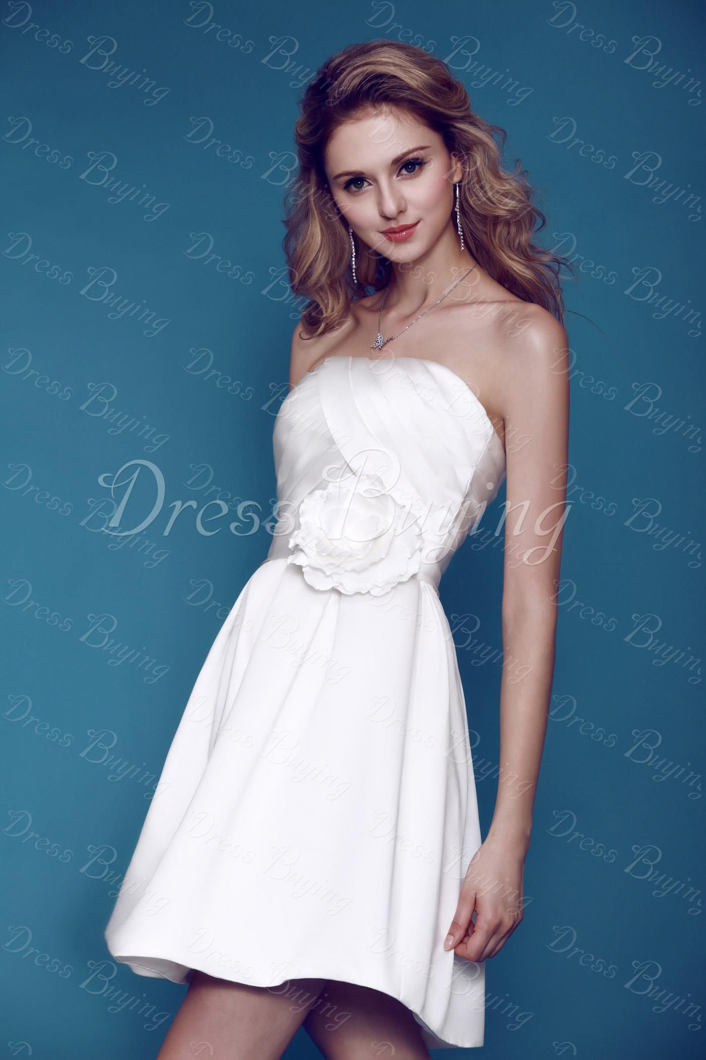 Amazing Short/Mini-length Sleeveless Strapless Flower Dasha\'s ...