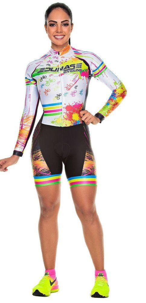 ... Cycling de By Marcia Store. Macaquinho Feminino Manga Longa Splash 7456339852b