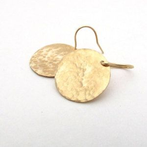 Large Hammered Gold Earrings Fill Disc Jewelry Earring Dangle Minimalist