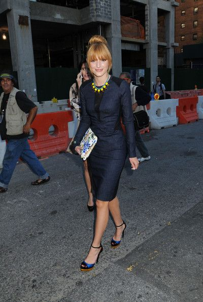 bella thorne arriving for the nicole miller fashion show