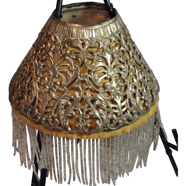 Victorian pierced metal lamp shade with beaded fringe inserts aloadofball Gallery