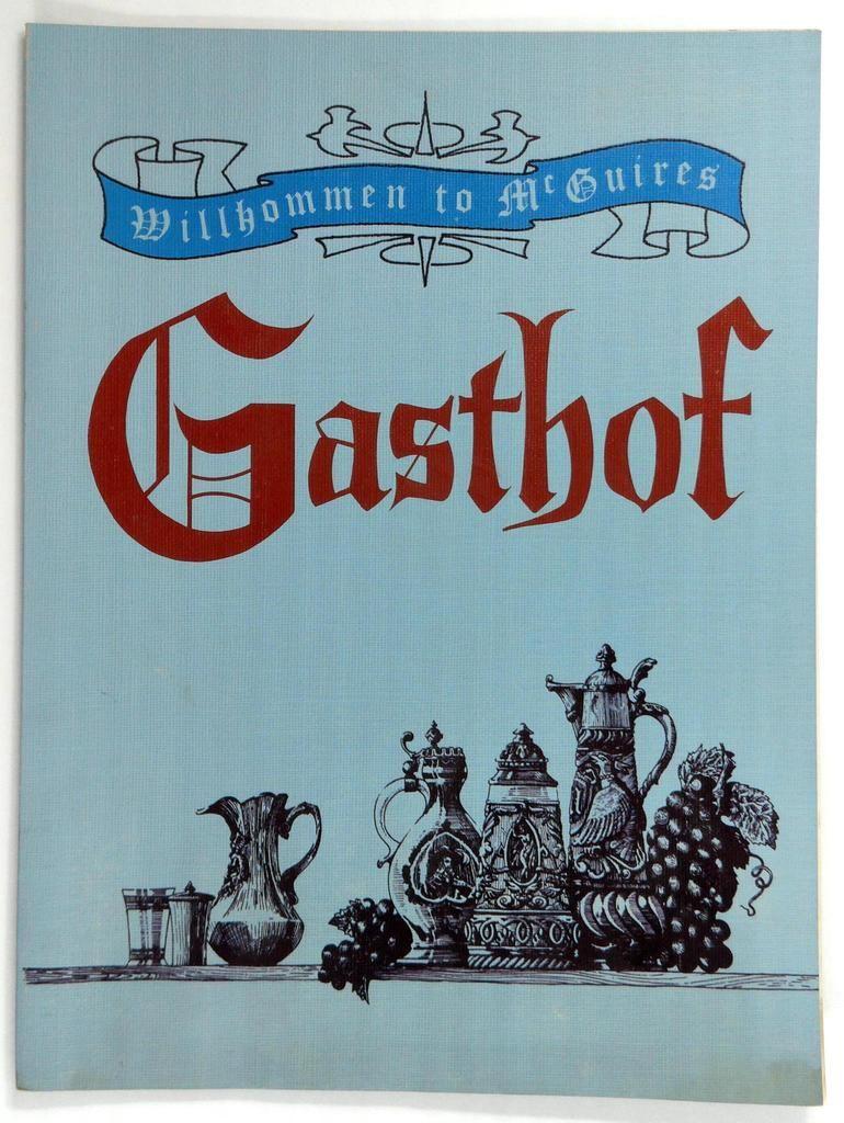 MCGUIRES GASTHOF Restaurant Vintage Original Menu J. M