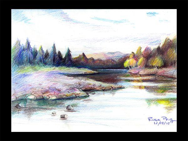 Color Pencil Sketches Landscape Colored pencil landscape ...