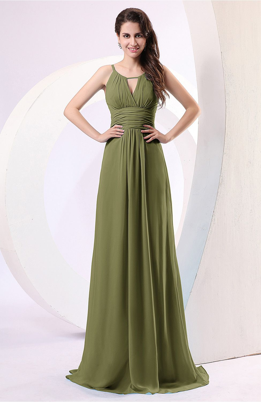 d3c515deb2 Olive Green Evening Dress - Plain Column Scoop Zipper Chiffon Ruching
