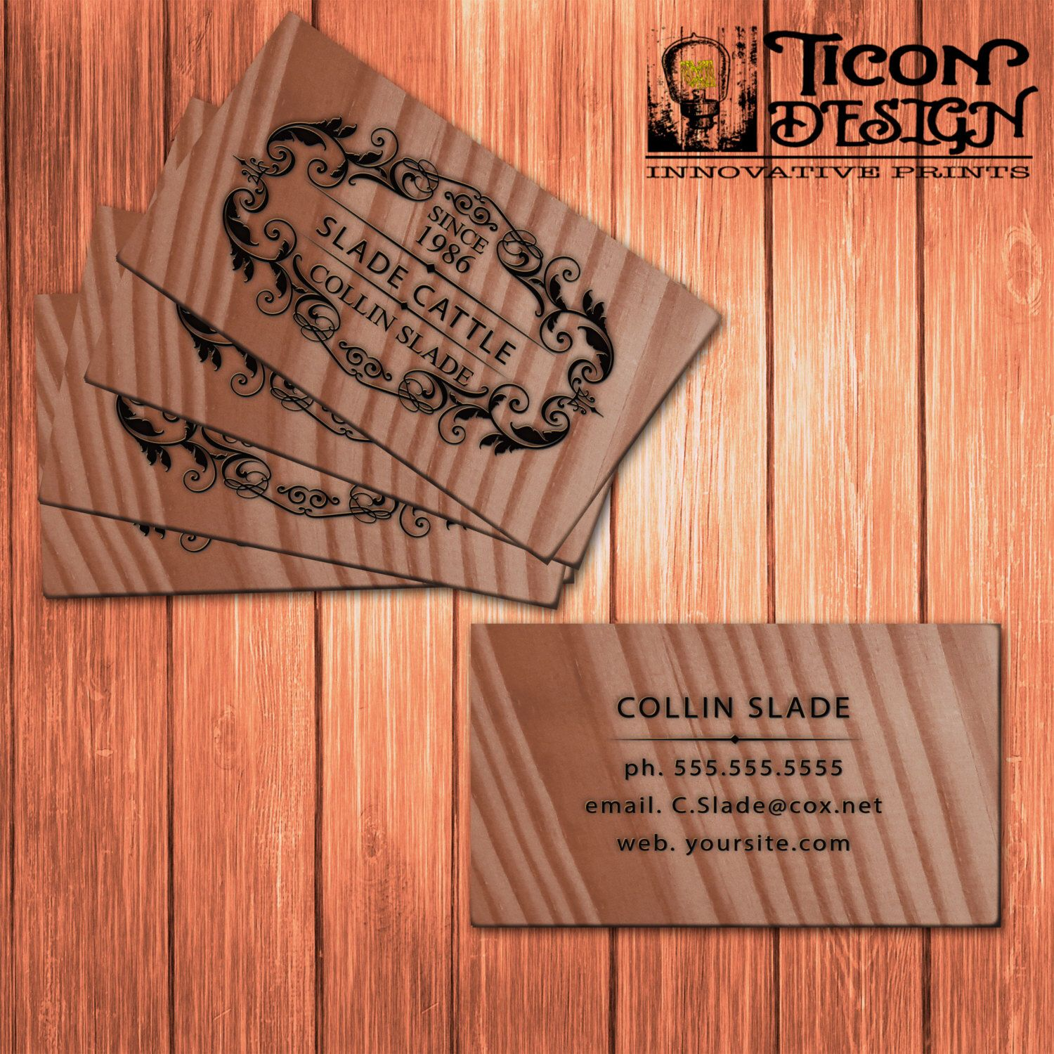 Business cards custom wood thick paper standard