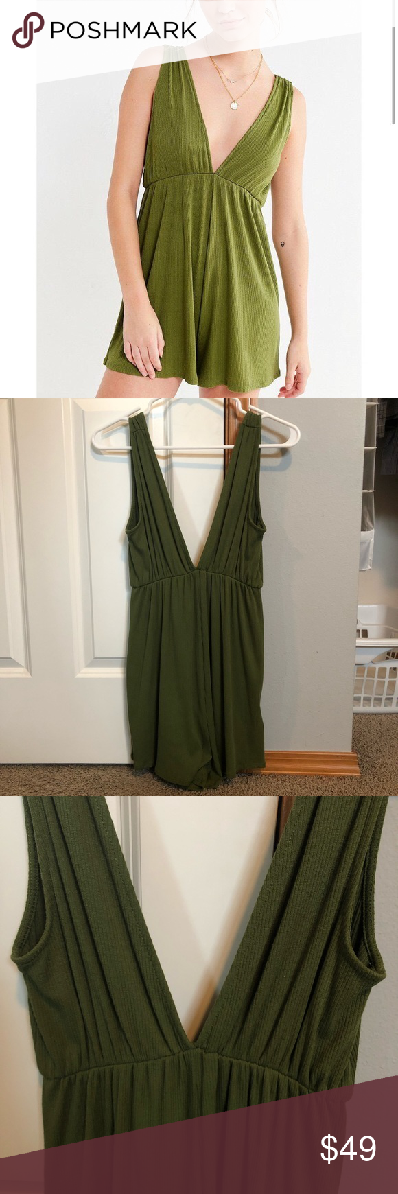 96323bdb52fc UO Ribbed Knit Plunging Babydoll Romper Only worn once and in like new  condition! Sooo