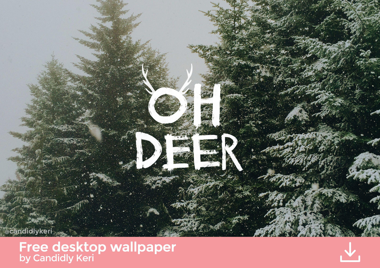 Oh Deer snowy trees Christmas tree cute background