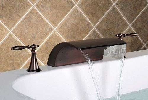 Deck Mounted Oil Rubbed Bronze Bathtub Waterfall Faucet 3 8001r 3
