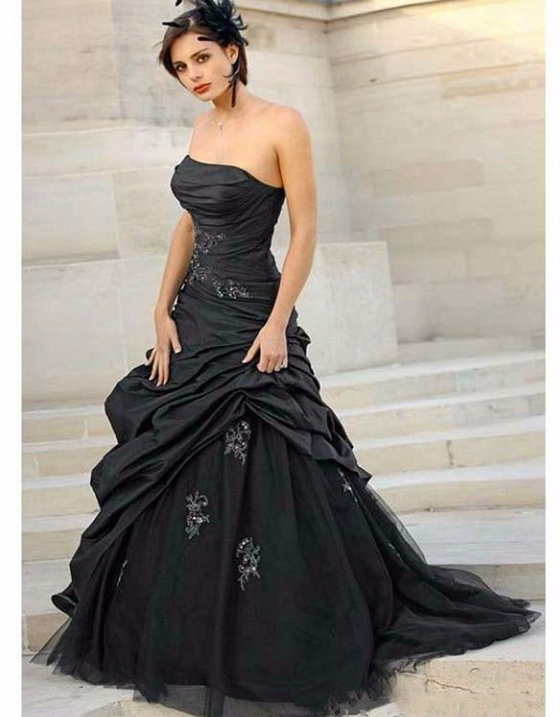 Gothic wedding shop - Online Shop Black Plus Size Gothic Wedding Dress Strapless Taffeta Beaded Applique 2016 Sexy Bridal Gowns Vestido De Noiva